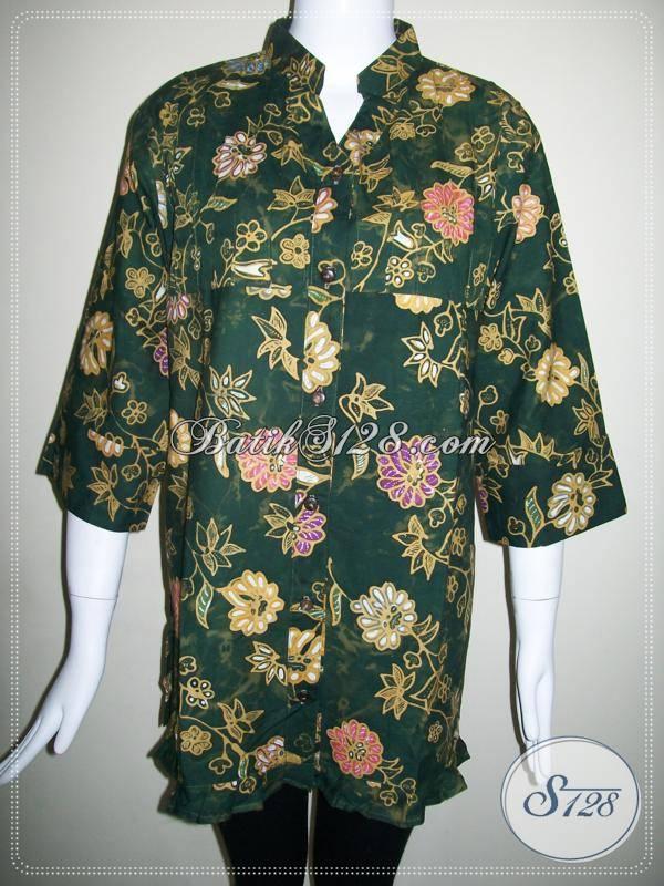 Baju Batik Wanita Kombinasi Tulis,Blus Batik Wanita Warna Hijau,Butik Baju-Baju BAtik Kombinasi Tulis [BLS424CT-XL]