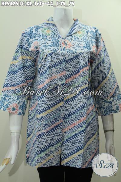Jual Online Baju Blus Motif Parang Warna Biru, Busana Batik Trendy Proses Cap Kwalitas Bagus Harga Terjangkau, Size XL