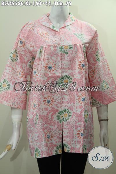 Baju Batik Jawa Tengah Kwalitas Istimewa Trend Mode Terkini, Busana Batik Modis Model Terbaru Dengan Motif Bunga Cewek Terlihat Makin Feminim, Size XL