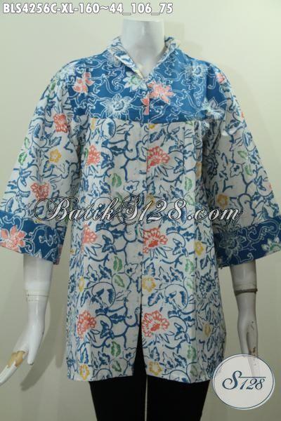 Baju Batik Modis Yang Membuat Wanita Nampak Mempesona, Blus Batik Desain Mewah Motif Bunga Proses Cap Harga 100 Ribuan, Size XL