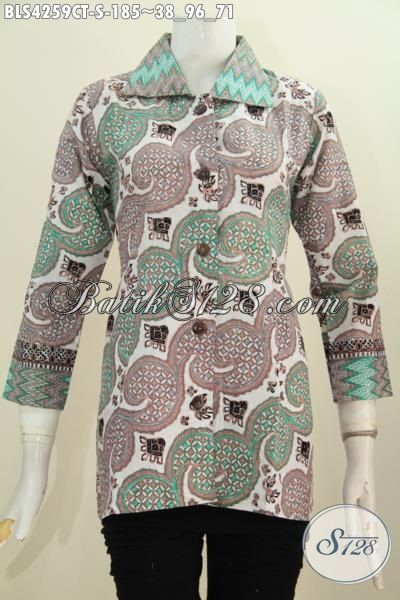 Baju Batik Blus Cap Tulis Model Kerah Kotak, Pakaian Batik Seragam Kerja Wanita Muda Size S Modis Dan Berkelas
