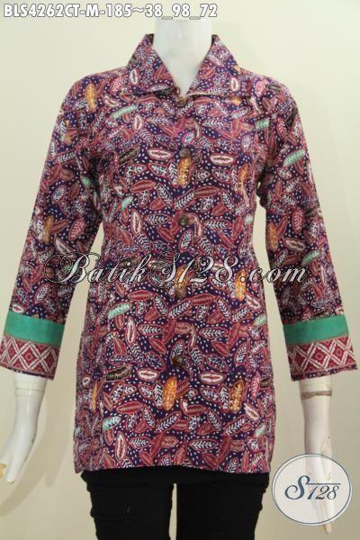 Pakaian Batik Trendy Buatan Solo Ukuran M, Baju Blus Batik Cap Tulis Motif Terkini Yang Fashionable Untuk Kerja Dan Pesta