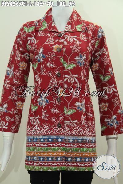 Batik Blus Modis Motif Kombinasi Proses Cap Tulis, Busana Batik Modern Untuk Wanita Karir Tampil Modis Dan Rapi, Size L