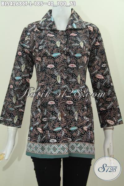 Baju Blus Kerah Kotak Bagus Halus Dan Mewah, Busana Batik Wanita Muda Dan Dewasa Proses Cap Tulis Kesukaan Karyawati, Size L