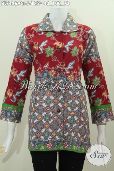 Pakaian Batik Dual Motif Desain Mewah Kerah Kotak, Baju Batik Modern Proses Cap Tulis Modis Untuk Seragam Kerja Dan Acara Formal, Size L