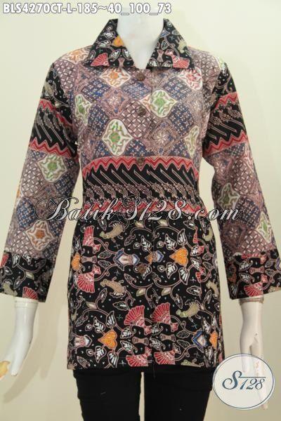 Busana Batik Wanita Model Terbaru Kerah Kotak, Baju Batik Elegan Berbahan Halus Yang Nyaman Di Pakai Berpadu Motif Mewah Bikin Penampilan Lebih Anggun, Proses Cap Tulis [BLS4270CT-L]