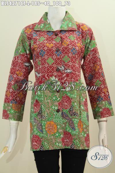 Busana Batik Blus Kerah Kotak Model Terbaru Yang Banyak Di Suka, Pakaian Batik Trendy Untuk Kerja Wanita Karir Tampil Lebih Anggun, Size L