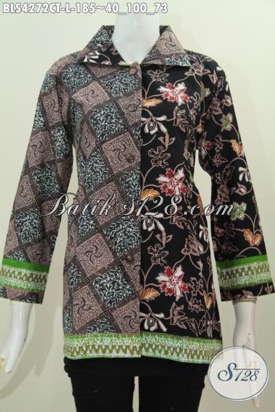 Baju Blus Keren Dua Motif Model Kerah Kotak, Pakaian Batik Formal Seragam Kerja Wanita Karir Proses Cap Tulis Tampil Anggun Mempesona, Size L