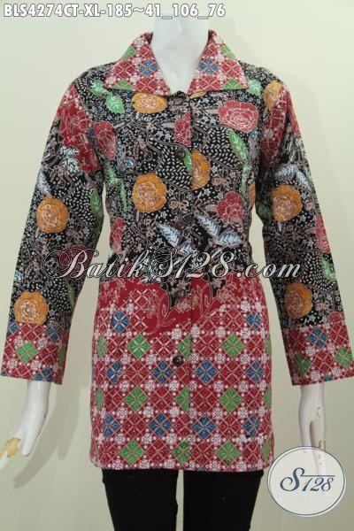 Toko Batik Online Langganan Para Pegawai, Sedia Blus Batik Motif Bunga Kwalitas Istimewa Proses Cap Tulis, Baju Batik Kerah Kotak Istimewa Untuk Kerja [BLS4274CT-XL]
