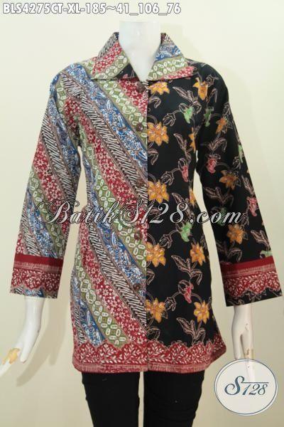 Batik Blus Mewah Dual Motif Parang Bunga, Baju Batik Solo Cap Tulis Kerah Kotak Trend Mode Masa Kini Bikin Penampilan Lebih Istimewa, Size XL