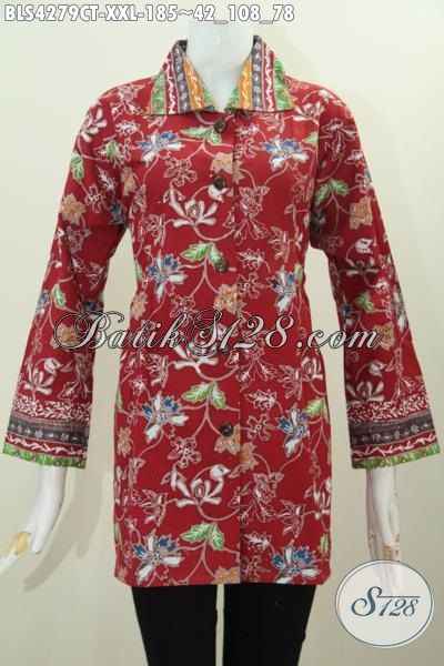 Blus Batik Merah Desain Mewah Motif Bunga Proses Cap Tulis, Baju Batik Jumbo Seragam Kerja Wanits Gemuk Tampil Lebih Berkelas, Size XXL