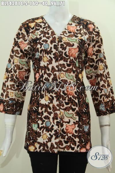 Produk Pakaian Batik Model Terbaru Dengan Kwalitas Bagus Dan Halus, Blus Batik Dua Warna Kombinasi Ukuran S, Untuk Kerja Bisa Jalan-Jalan Juga Modis