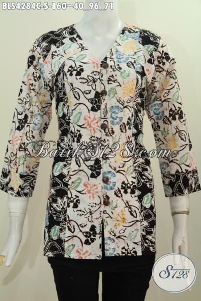 Toko Online Baju Batik Jawa Pilihan Lengkap, Jual Online Produk Batik Blus Modern Proses Cap Kwalitas Istimewa Harga Terjangkau Model Dua Warna Kombinasi Cocok Buat Kerja, Size S