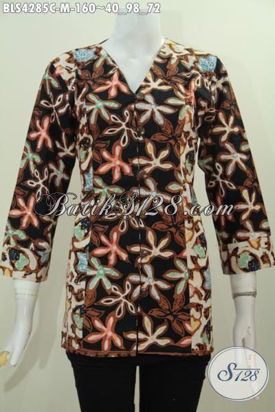 Baju Blus Batik Cap Motif Modern Kwalitas Halus Dan Modis, Pakaian Batik Trendy Kesukaan Wanita Muda Untuk Tampil Modis Dan Gaya, Size M