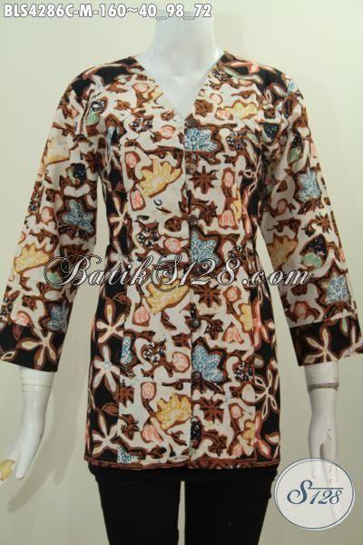 Baju Blus Batik Buatan Solo Model Paling Baru Dan Laris, Busana Batik Fashion Untuk Wanita Muda Ukuran M Proses Cap Tampil Stylish Dan Mempesona
