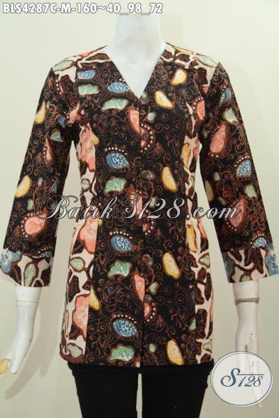 Pakaian Batik Modis Berbahan Halus Nyaman Di Pakaian, Busana Batik Fashion Seragam Kerja Wanita Karir Proses Cap Desain Mewah Tampil Makin Berkelas, Size M