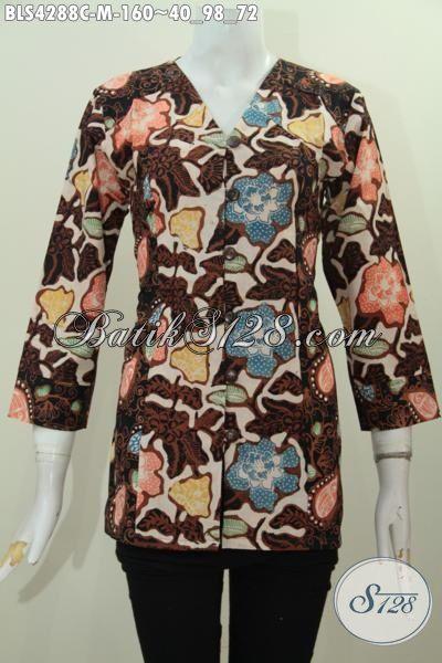 Jual Online Baju Batik Lengan Tiga Perempat Desain Istimewa Kwalitas Bagus, Blus Batik Trend Masa Kini Bahan Adem Proses Cap Ukuran M