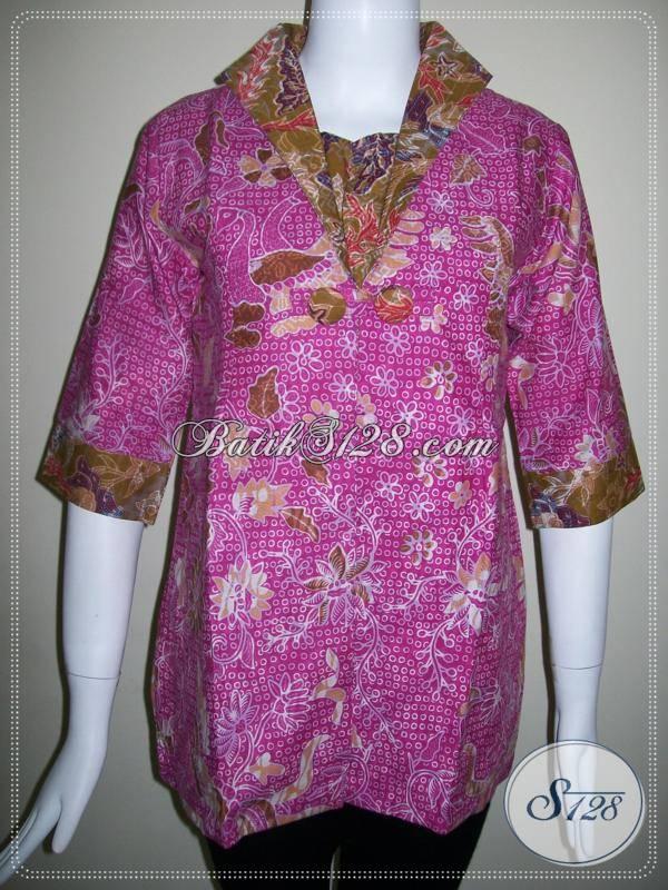 Baju Batik Wanita Paduan Dua Warna Batik Elegan Asli Solo