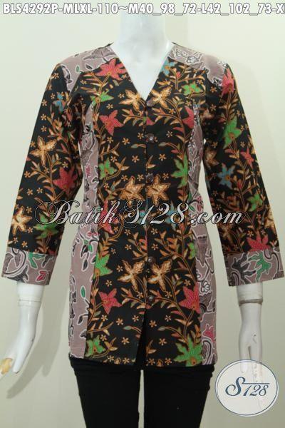 Jual Batik Blus Dua Warna Dan Motif Kwalitas Bagus Proses Printing, Busana Batik Kerja Cewek Karir Aktif Tampil Modis Dan Mempesona, Size M – L – XL