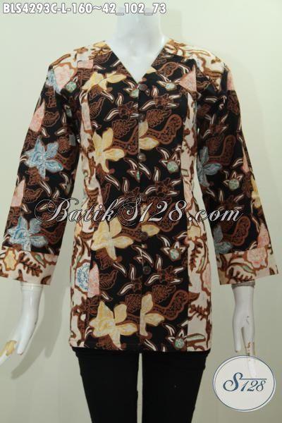 Baju Batik Dua Warna Kombinasi, Busana Blus Batik Trendy Buatan Solo Motif Berkelas Proses Cap Harga 160K, Size L