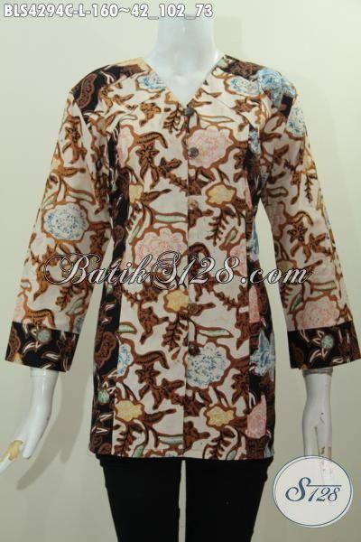 Sedia Baju Blus Modern 2 Warna Kombinasi Kwalitas Bagus Harga Terjangkau, Busana Batik Perempuan Karir Tampil Trendy Dan Cantik Maksimal, Size L