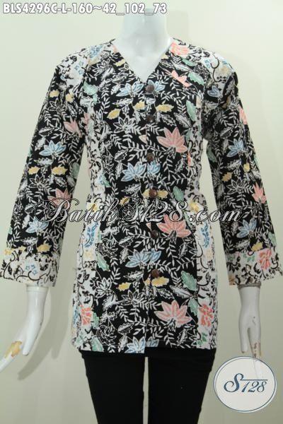 Produk Baju Batik Cewek Terkini Dengan Motif Bunga Berpadu Warna Berkelas Nan Mewah Proses Cap, Blus Batik Jawa Masa Kini Yang Fashionable Untuk Kerja Dan Pesta