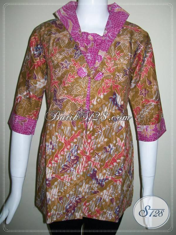 Blus Batik Wanita Kombinasi Dua Warna,Batik Model Modern Dan Trendy [BLS429P-S]