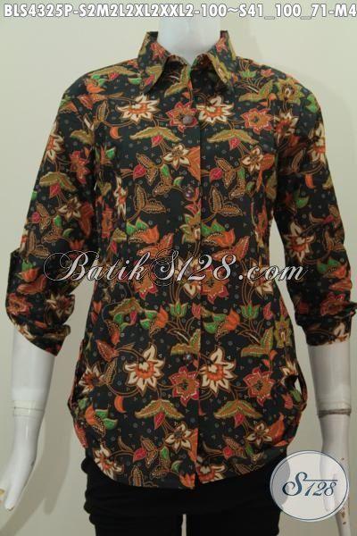 Baju Batik Model Blus Kerah Kemeja, Busana Batik Modern Bahan Adem Kwalitas Istimewa, Produk Batik Printing Keren Buat Kerja Tampil Gaya, Size S – M – L – XL – XXL