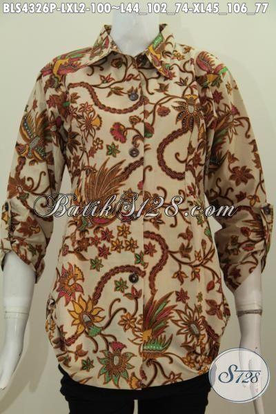 Busana Batik Wanita Desain Formal Kerah Model Kemeja Pakaian Batik