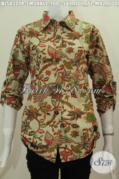 Baju Blus Printing Motif Elegan Dan Mewah Baju Batik Modis Halus Kwalitas Istimewa Model Kerah Kemaja Cocok Untuk Ke Kantor, Size S – M