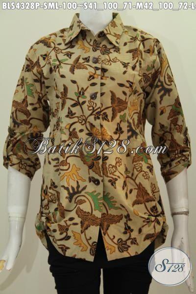 Produk Pakaian Batik Modern Untuk Kerja Wanita Karir, Baju Batik Perempuan Dewasa Dengan Desain Kerah Kemeja Biji Penampilan Lebih Gaya, Size S – M – L