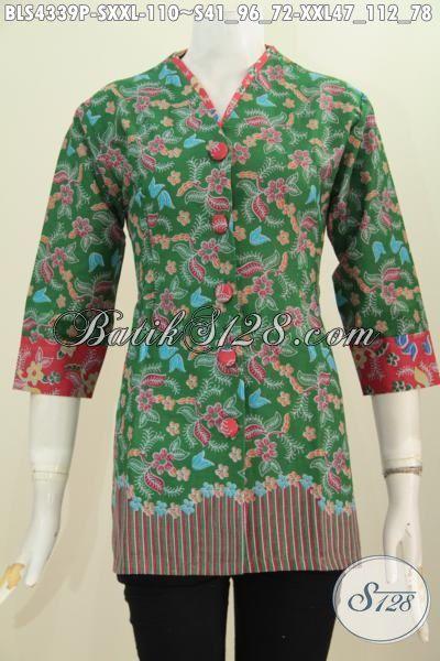 Toko Baju Batik Online Paling Lengkap, Sedia Blus Batik Printing Halus Warna Hijau Dengan Motif Trendy Dan Berkelas, Baju Batik Modern Untuk Wanita Muda Tampil Gaya Dan Trendy, Size S – XXL
