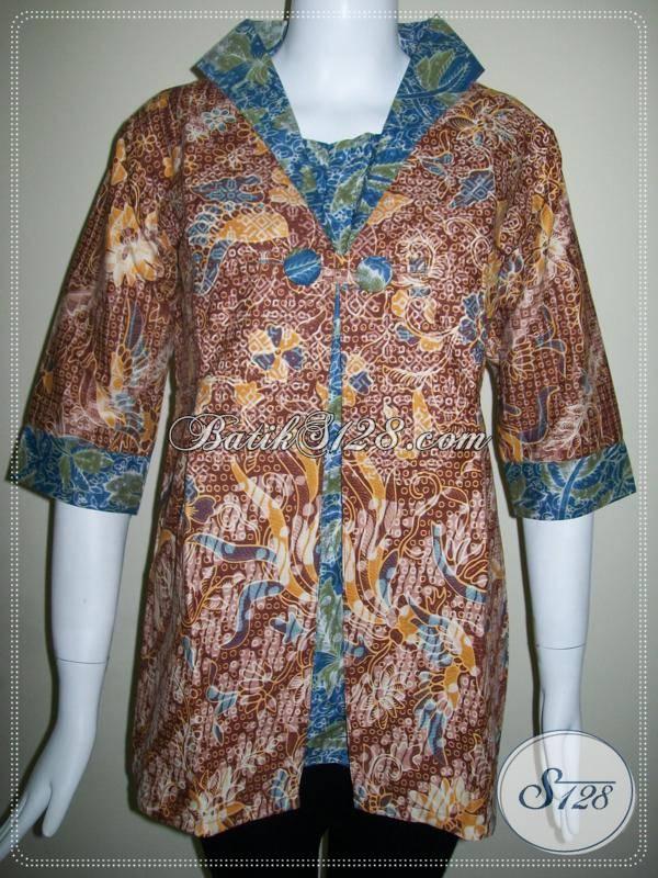 baju batik wanita lengan tiga perempat paduan batik dua