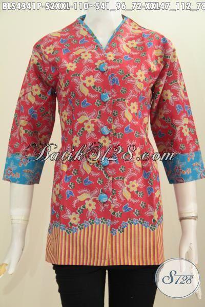 Busana Batik Blus Trendy Buatan Solo Untuk Perempuan Muda Dan Dewasa, Produk Baju Batik Modern Bahan Halus Proses Printing Model Plisir Kerah Polos Keran Abis, Size S – XXL