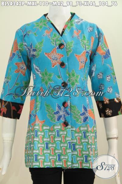 Baju Blus Modern Warna Biru Laut, Pakaian Batik Modis Dan Istimewa Buatan Solo Desain Plisir Kerah Polos Nan Istimewa Dengan Motif Trendy Proses Printing Serta Harga Murmer, Size M – XL