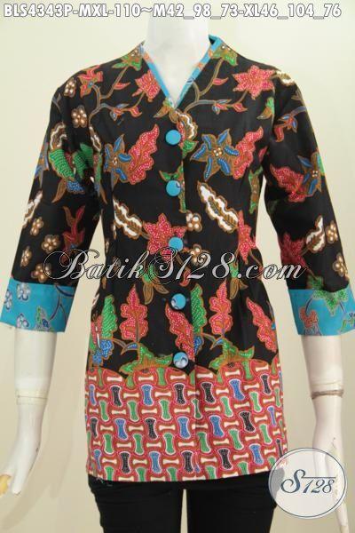 Baju Blus Batik Plisir kerah Polos Motif Trendy Proses Printing, Busana Batik Keren Buatan Solo Trend Mode Terkini Yang Membuat Wanita Terlihat Cantik Dan Anggun, Size M – XL