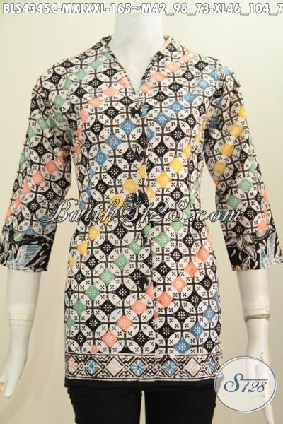 Baju Batik Halus Untuk Wanita, Batik Blus Plisir Kerah Polos Kwalitas Istimewa, Pakaian Batik Modern Motif Unik Proses Cap Asli Buatan Solo, Size M – XXL