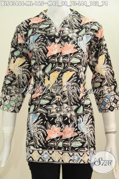 Batik Blus Trendy Model Terbaru Kerah Polos Desain Plisir Cocok Untuk Kerja Dan Santai, Baju Batik Istimewa Wanita Karir Proses Cap Tampil Lebih Modis, Size M – L