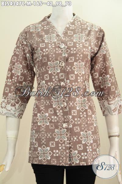 Online Shop Pakaian Batik Jawa Terlengkap, Sedia Blus Plisir Kerah Polos Bahan Batik Cap Motif Elegan Untuk Seragam Kerja Dan Acara Pesta, Size M
