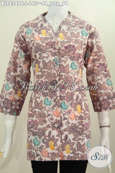 Baju Trendy Wanita Modern Hadir Dengan Bahan Batik Cap Buatan Solo Desain Mewah Kwalitas Bagus Motif Unik, Busana Batik Plisir Kerah Polos Cocok Untuk Seragam Kerja, Size L