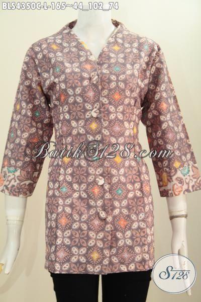 Baju Blus Batik Plisir Desain Terbaru Lebih Keren Dan Modis, Pakaian Batik Istimewa Berkelas Bahan Halus Proses Cap Model Kerah Polos, Size L