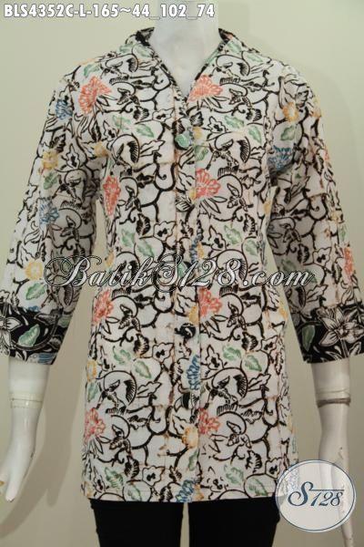 Toko Baju Batik Online Kwalitas Bagus Dan Istimewa, Jual Blus Batik Plisir Motif Trendy Proses Cap Model Kerah Polos Cocok Untuk Pesta Dan Jalan-Jalan, Size L