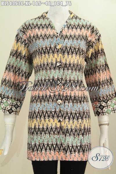 Busana Batik Model Blus Plisir Kerah Polos Untuk Wanita Dewasa, Pakaian Batik Halus Modern Motif Unik Proses Cap Buat Penampilan Makin Gaya Dan Mempesona, Size XL