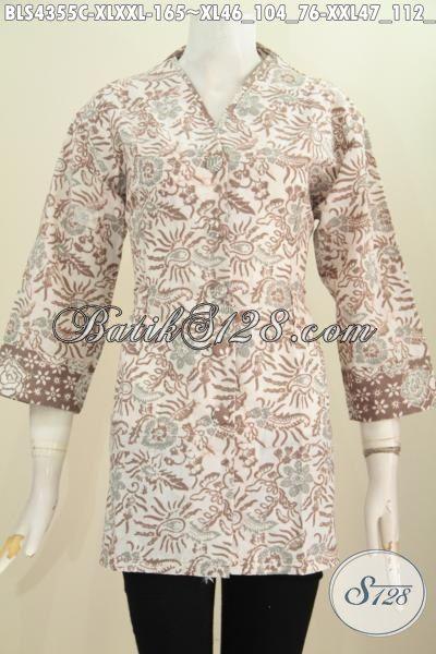 Sedia Produk Pakaian Batik Modis Desain Istimewa Buatan Solo, Baju Batik Cap Model Plisir Kerah Polos Tampil Lebih Mempesona, Size L – XXL