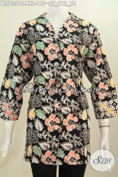Jual Blus Plisir Trendy Dengan Kerah Polos Motif Istimewa, Baju Batik Wanita Gemuk Buata Tampil Trendy Modis Dan Mempesona, Proses Cap [BLS4356C-XXL]