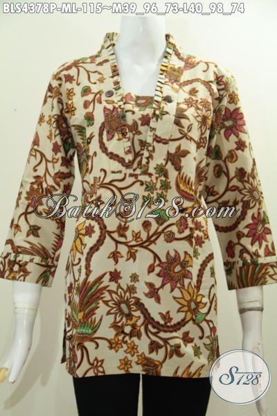 Batik Blus Halus Motif Bunga Proses Printing, Pakaian Batik Elegan Desain Trendy Dilengkapi Resleting Belakang, Size M – L