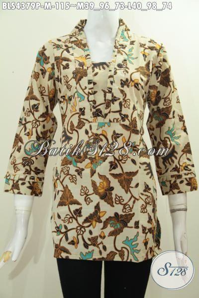 Jual Online Batik Blus Modern Dengan Desain Istimewa Untuk Pakaian Kerja Dan Busana Pesta, Produk Baju Batik Wanita Model Resleting Belakang Motif Terkini Proses Printing Hanya 115K [BLS4379P-M]