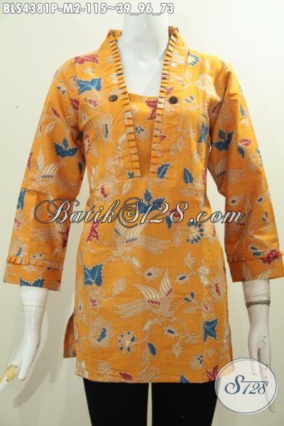 Bati Blus Trendy Resleting Belakang, Pakaian Batik Modern Warna Kuning Motif Unik, Modis Buat Kerja Dan Jalan-Jalan, Size M