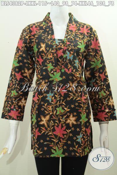 Produk Pakaian Batik Cewek Terkini Dengan Model Resleting Belakang Keren Berpadu Motif Bunga Nan Mewah, Baju Batik Wanita Dewasa Proses Printing Tampil Berkelas Dan Cantik Maksimal [BLS4382P-L]