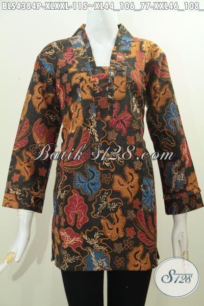 Jual Produk Baju Batik Trendy Halus Desain Resleting Belakang, Blus Batik Modis Motif Keren Proses Printing Untuk Penampilan Lebih Gaya, Size XL – XXL